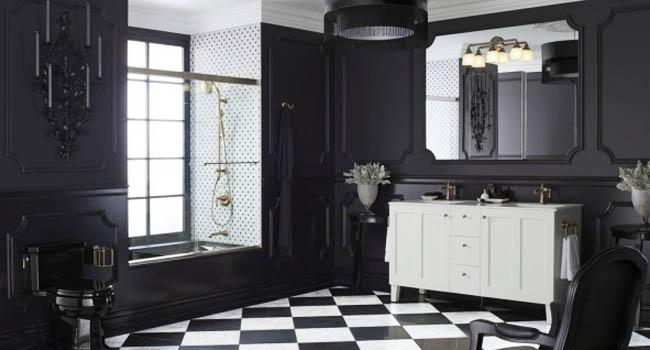 Desain Kamar Mandi Nuansa Hitam Putih Yang Elegan Dan Simple
